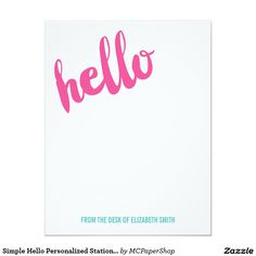 Simple Hello Personalized Stationery Note Card