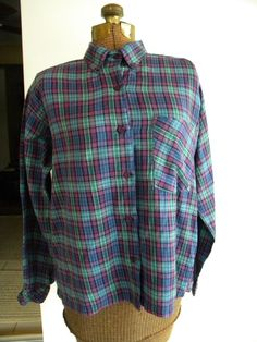 Vintage Just Class Flannel Purple and Green Plaid Shirt  Women's Sz L EUC #JustClass #ButtonDownShirt #ANY