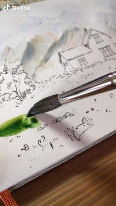 Watercolor Paintings For Beginners, Watercolor Art Lessons, Watercolor Landscape Paintings, Watercolor Techniques, Watercolor Landscape Tutorial, Watercolor Journal, Watercolor Artists, Painting Videos, Art Drawings Sketches Simple