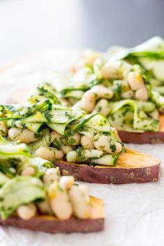 3. Sweet Potato Toast With Herby Beans #sweetpotato #toast #recipes http://greatist.com/eat/sweet-potato-toast-recipes