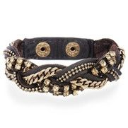 Braided leather and metal bracelet.