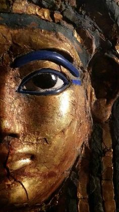 Funerary Mask of Merit, wife of Kha. Linen stuccoed and covered in gold leaf.