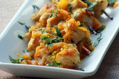 Pineapple Curry Glazed Chicken Skewers
