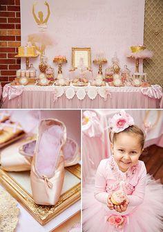 festa bailarina rosa e dourado