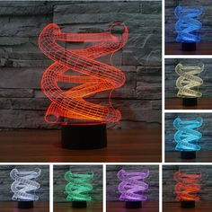 Hot Sale Stylish 3D DNA abstract Spiral Bulb Lamp LED Night 7 Color Change Table Illusion Bedroom Home Cafe Bar Deco Toy Gifts #Affiliate