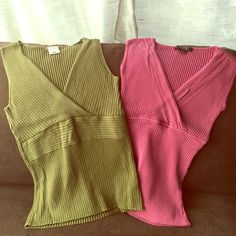 🇺🇸V-neck sweater tank tops -pink and olive green V-neck sweater tank tops - pink (S) Style &  Co, and olive green (M- fits like S) Old Navy - purchase as stand alone or bundle. $8 each or 2/$15. Great under cami for work or with jeans. Style & Co Sweaters V-Necks