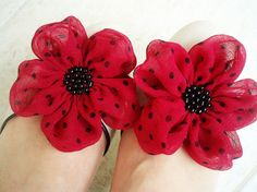 Hot Pink With Black Dots Flowers Shoe Clips by BizimFlowers
