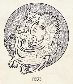 I've bought a book about Alfons Mucha and my Art Nouveau madness has just started The first of 12 zodiac signs, I chose Aries the first because I was bo. Zodiac - Part 1 Astrology Pisces, Aries Sign, Zodiac Signs Taurus, Pisces Tattoo Designs, Pisces Tattoos, Zodiac Candles, Printable Adult Coloring Pages, Zodiac Symbols, Stencil Painting