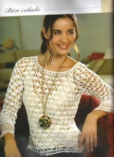 PATRONES GRATIS DE CROCHET: Patrón de un jersey calado a crochet