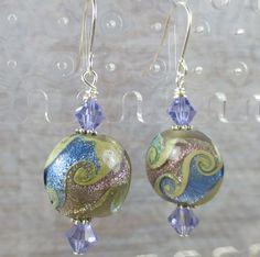Lampwork Purple earrings with blue swirls and by beadwizzard, $13.50
