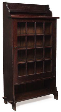 Roycroft Single Door Bookcase Oak with Glass and Bronze Hardware East Aurora