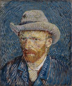 """Vincent van Gogh (1853-1890),  Self-Portrait with Felt Hat, Paris: Winter, 1887-88.  Van Gogh Museum, Amsterdam    """"Van Gogh painted this self-portrait in the winter of 1887-1888, when he had been living in Paris for nearly two years. Since his arrival in the city he had devoted much study to the dotted Pointillist technique.""""  src"""