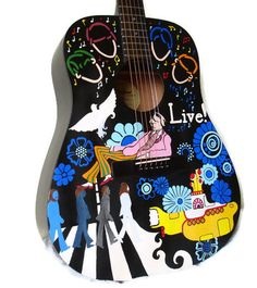 Father's Day Custom handpainted guitar art  by laMarmotaCafe, $245.00
