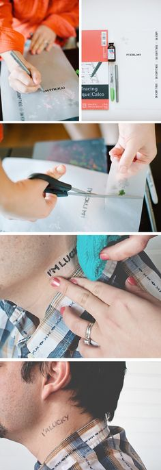 Make your own Temporary Tattoos. OMG. Very handy to do to their child before going anywhere (amusement park, zoo, etc). I am doing this to freak my mom out though. Can't wait. ;) She loathes tattoos.  I love them but only have 2. I am doing the neck or the face. Pinterest, you have NEVER helped me plan a prank.  You NEVER disappoint.