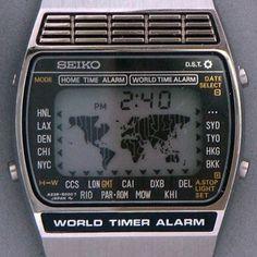 Seiko 5000 World Time Map Watch. 1979 Seiko 5000 World Time Map Watch. Best Kids Watches, Cool Watches, Watches For Men, Retro Watches, Vintage Watches, Citizen Dive Watch, Seiko Vintage, Radios, Map Watch
