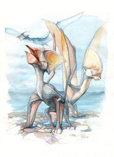 Tapejara by Alexander Smentsaryev Prehistoric Wildlife, Prehistoric World, Prehistoric Creatures, Reptiles, Mammals, Dinosaur Dig, Art Easel, Extinct Animals, Dinosaurs