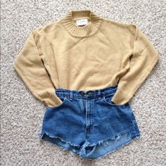 Carmel sweater very soft and warm worn once! in perfect condition :)                                                                                                                                                                                                 ✅cheaper thro ️️                                                           ✅the shorts are also available                               ✅brand for visibility Urban Outfitters Sweaters Crew & Scoop Necks