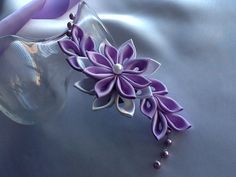 Hair Clip - Lavender Purple Light Purple White Kanzashi Flower with Pearls Hair Flowers Wedding Flowers