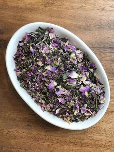 Delicious blend of white tea, lavender and mint.  www.urbanteaco.com Lavender Flowers, Loose Leaf Tea, Serving Size, Peppermint, Acai Bowl, Organic, Fresh, Food, Mint