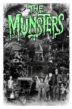 Rock Rebel Munsters Go Home Green Shaded Herman Adult T Shirt