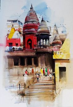 Watercolour painting workshop with Milind Mulick. travel painting workshop in Bangalore by Coloring India Foundation! Watercolor Paintings Nature, Watercolor Paintings For Beginners, Watercolor Water, Indian Art Paintings, Watercolor Canvas, Easy Watercolor, Watercolours, Painting Art, Happy Paintings
