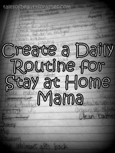 Schedule of a Stay at Home Mom I used to do this..