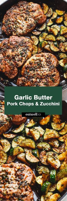 Butter Herb Pork Chops with Zucchini Garlic Butter Herb Pork Chops with Zucchini - This complete Paleo meal is quick, easy and effortless!Garlic Butter Herb Pork Chops with Zucchini - This complete Paleo meal is quick, easy and effortless! Pork Chop Recipes, Paleo Recipes, Low Carb Recipes, Cooking Recipes, Paleo Meals, Paleo Food, Diet Meals, Veggie Food, Paleo Dinner