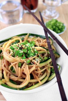 Healthy Ginger-Scallion Noodles...pasta and zucchini with a tamari, vinegar, ginger, onion and red pepper flake sauce