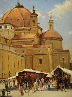 Leather Market, Piazza St Lorenzo, Florence by Brian Blood Oil ~ 12 x 9 Saint Lorenzo, Monterey Boats, Carmel Beach, Mission San Juan Capistrano, Museums In Nyc, Paris Summer, Rocky Shore, Winter Sunset, Z Arts
