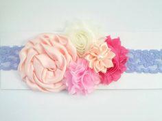 Shabby chic headband flower headband  lace headband by GabeAndJuju