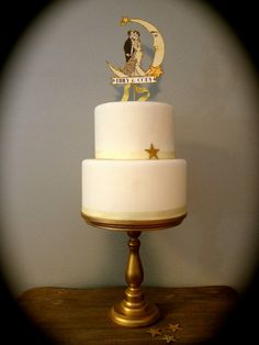 Wedding Cake Topper Moon and Stars Great by JolieEnRoseVintage
