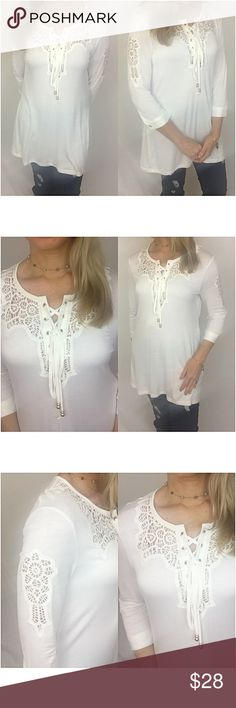 "Boho Chic Lace Up Front Flowy Tunic SMLXL Boho Chic & Gorgeous off white lace up front tunic. Lace panel front & sleeves with gold hardware. Flowy, stretchy butter soft & lightweight. Rayon/spandex blend.   Small (will fit medium) Bust 34-38""  Length 32""  Large (will fit XL) Bust 40-42"" Length 33"" Tops Tunics"