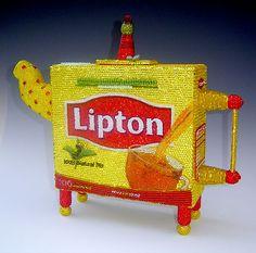 Beaded Lipton Teapot, by Linda Dolack