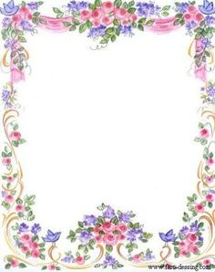 ~✿☀ᴗ☀~ Pretty Bluebirds & Roses Frame ~✿☀ᴗ☀~ Envelopes, Decoupage, Boarders And Frames, Christmas Frames, Borders For Paper, Floral Border, Printable Paper, Printable Frames, Note Paper
