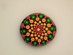 Mandala stones-Tequila sunrise-painted rocks-unique 3D bohemian dot art object-Zen chakra-metaphysical-yoga meditation-trending-dorm decor