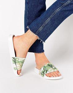 slydes, copacabana palm print slider flat sandals, $33, available at asos.