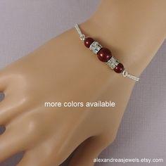 Plum Bridesmaid Bracelet, Swarovski Blackberry Pearl Chain Bracelet, Bridal Bracelet, Bridesmaid Gift Ideas, Wedding Bracelet, Bridal Party