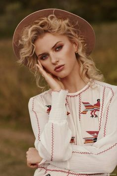 Exclusive: Elodie Russell by Jeremy Choh in 'Natural Instincts' Lack of Color Hat, Intropia Dress available at Christensen Copenhagen, Kerry Rocks Earring and Susan Driver Ring New Fashion, Trendy Fashion, Fashion Models, Fashion Outfits, Fashion Trends, Rock Fashion, Fashion Hats, Dress Fashion, Street Fashion