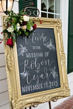 Gorgeous Gold Ceremony Welcome Sign | Kristen Weaver Photography