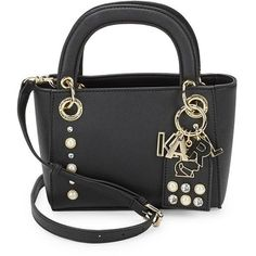 25121d8c0c Karl Lagerfeld Embellished Faux Leather Satchel Bag (€85) ❤ liked on  Polyvore featuring bags