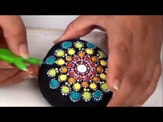 Elspeth McLean painting a Jewel Drop Mandala Stone - YouTube