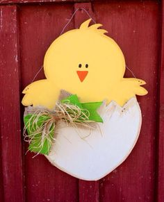 Items similar to Spring Chick Door Hanger on Etsy Easter Art, Easter Crafts, 2x4 Crafts, Easter Paintings, Door Hanger Template, Wooden Wreaths, Diy Ostern, Miniature Crafts, Spring Crafts