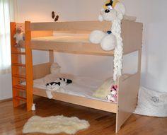 natural birch and orange bunk bed https://www.facebook.com/GAThemedRooms www.themedrooms.ca