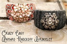 Crazy Easy Anthro Knockoff Bracelet » Flamingo Toes Diy Jewelry Projects, Cool Diy Projects, Jewelry Crafts, Handmade Jewelry, Vintage Jewelry, Bracelet Tutorial, Diy Bracelet, Cuff Bracelets, Bangle