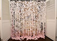 DIY Petal Curtain Backdrop   Pink Ombre Wedding Inspiration