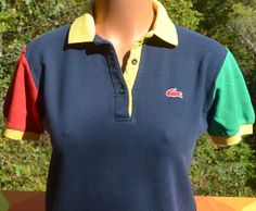 vintage 70s polo shirt izod LACOSTE for her rainbow by skippyhaha