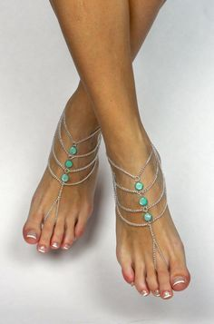 Mint Green Bohemian Barefoot Sandals Boho Foot Jewelry Mint Green Anklet Bridesmaids gift Beach wedding sandals Bare Foot Sandals Foot thong by BareSandals on Etsy https://www.etsy.com/listing/214449922/mint-green-bohemian-barefoot-sandals