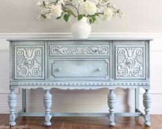 Antique BERNHARDT / J.B. VAN SCIVER Jacobean Hand Painted French Country Shabby Chic Romantic Aqua Pastel Blue Grey Buffet Sideboard #shabbychicdressersgrey #shabbychicdressersblue
