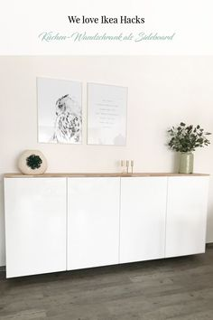 Ikea Hack - Metod Küchenschrank als Sideboard ⋆ elfenweiss Ikea Hack: Metod wall cabinet as a sideboard. Do we all love Ikea hacks? Here you can see Metod kitchen cabinets as a sideboard - you can fin Kitchen Ikea, Kitchen Decor, Kitchen Cabinets, Side Board, Armoire Buffet, Sideboard Cabinet, Ikea Sideboard Hack, Kitchen Sideboard, Ikea Hacks