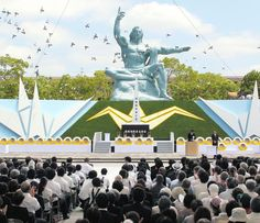Nagasaki mayor calls on Japan to ink statement denouncing nuke weapons--- Doves are released into the sky after the reading of the Nagasaki Peace Declaration during the ceremony to mark the 68th anniversary of the atomic bombing of Nagasaki at Nagasaki Peace Park on Aug. 9. (Takeshi Iwashita)